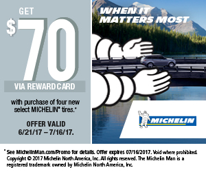 Michelin Tire Summer Promotion 2017