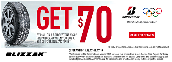 Bridgestone Winter 2017 Tire Rebate