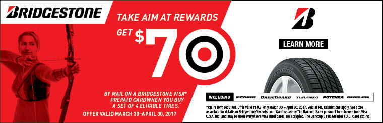 Bridgestone Tire Spring 2017 Rebate